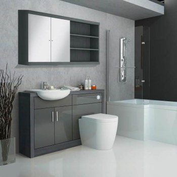 Hacienda Fitted Bathroom Furniture Pack Grey Contemporary