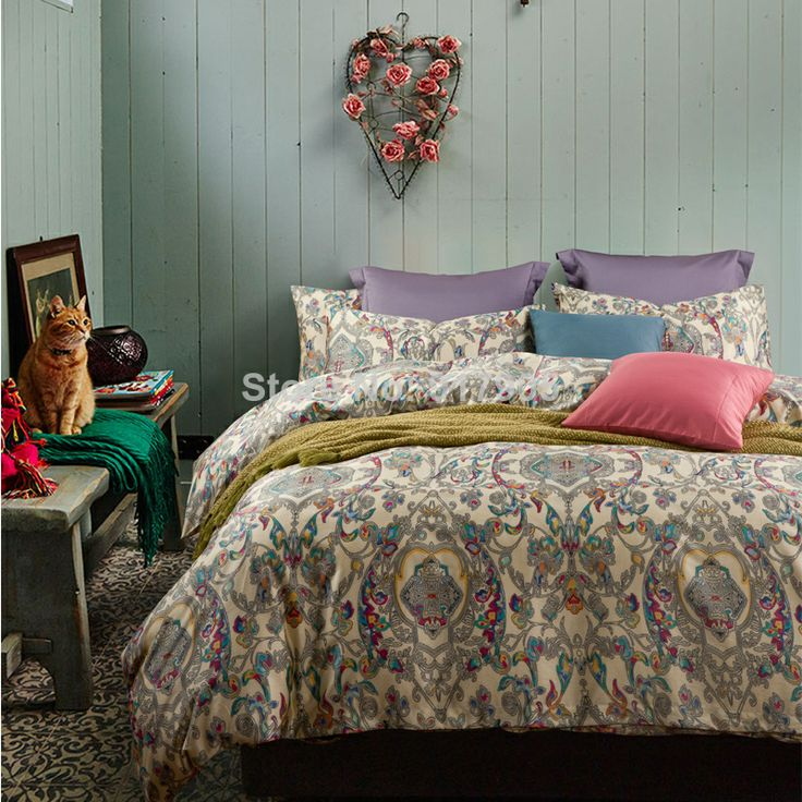 modern colorful paisley style bedding sets luxury exotic style egyptian cotton bed sheets fashion bohemian duvet
