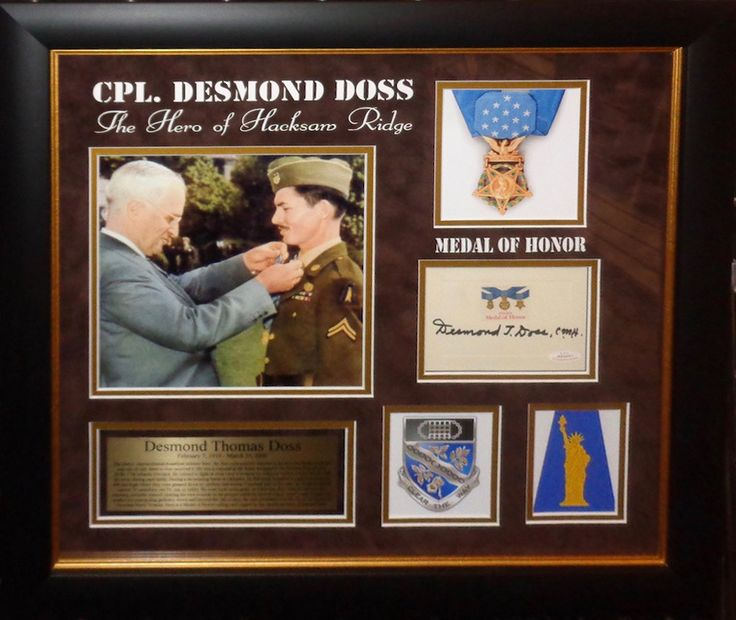 Desmond Doss Signed Card