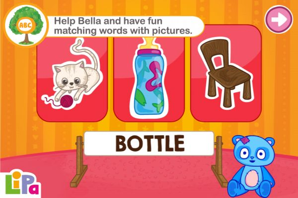 Lipa Bear reinforces familiar vocabulary including the essential verbs, nouns and adjectives of early years using simple engaging gameplay. By identifying words and images to help Bella Bear find her things, children have fun developing their language skills.  Recommended age 2-4 years