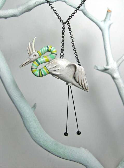 Egret Necklace by PsychoticReaction on Etsy