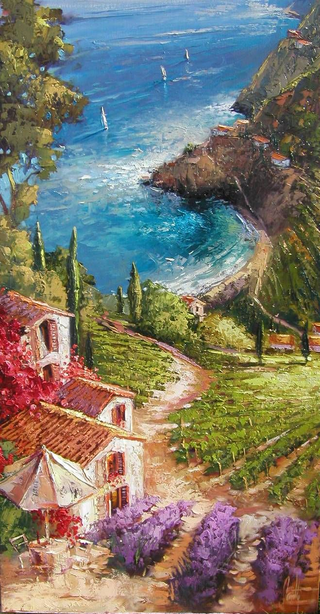 """ART~ """"The Little House On The Hill"""" ~ Artist Steve Quartly~ I Love This! So Thick You Can Almost Feel It."""
