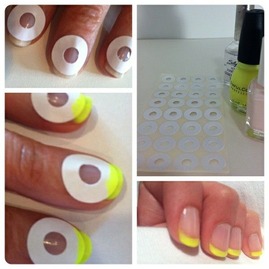 Haha soooo clever!!!  How to do a French Manicure… Effortlessly    Nothing beats a clean, crisp manicure, but they can get expensive at a salon. So here's a fail proof way how to do a french manicure, as inspired by this gorgeous a Rue La La Tumblr post. Well, why not neon? Of course, the tips could be any color, but we wanted to funkify a plain-jane manicure