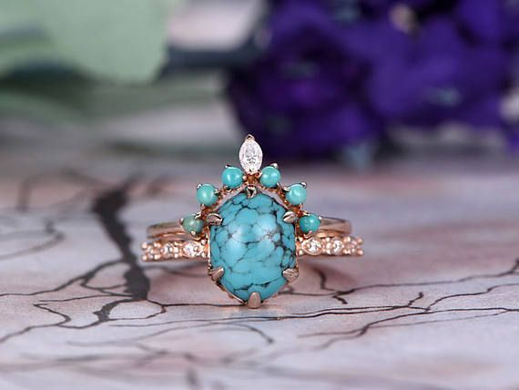 Hey, I found this really awesome Etsy listing at https://www.etsy.com/listing/509419862/turquoise-engagement-ring-set14k-rose