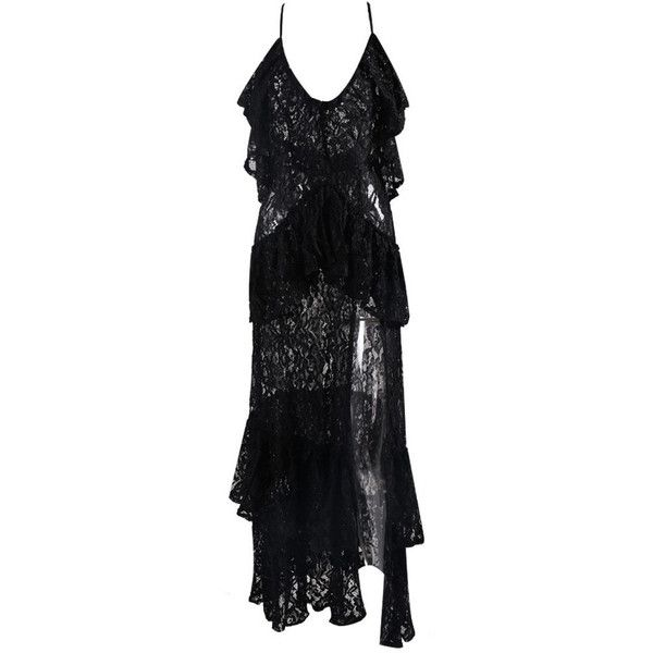 Honey couture angelica black lace peplum maxi dress (1785 MAD) ❤ liked on Polyvore featuring dresses, summer beach dresses, v-neck maxi dresses, lace dress, lace peplum dresses and peplum dress