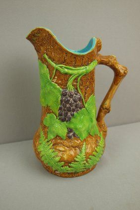BROWNFIELD large majolica rustic pitcher with grapes