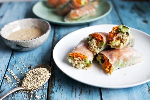Recette de rouleaux de printemps au quinoa & sauce aux noix de cajou épicée | Recettes | PRANA
