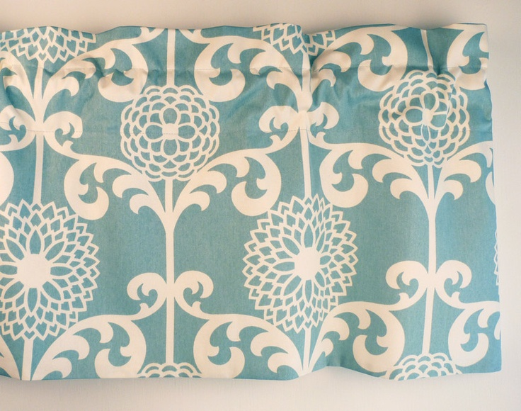 light teal and cream valances for kitchen