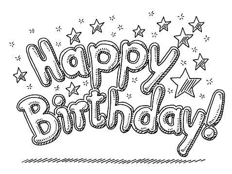 happy birthday celebration text stars drawing | geburtstag