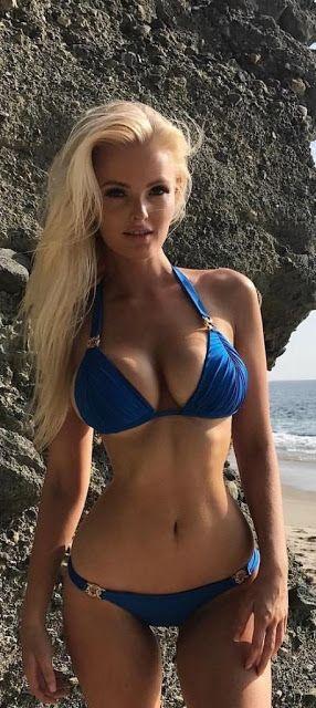 Blonde In Blue  Fitness  Bikini Girls, Bikinis, Sexy Bikini-7192