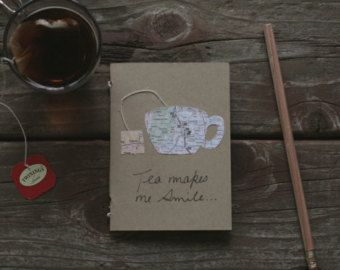 Tea makes me Smile Mini Notebook. Hand Sewn. Blank Pages.