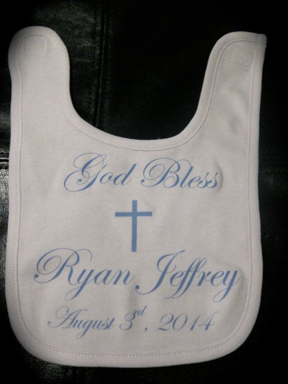 Personalized Baptism/Christening Bib God Bless baby for boy or girl gift novelty on Etsy, $8.00