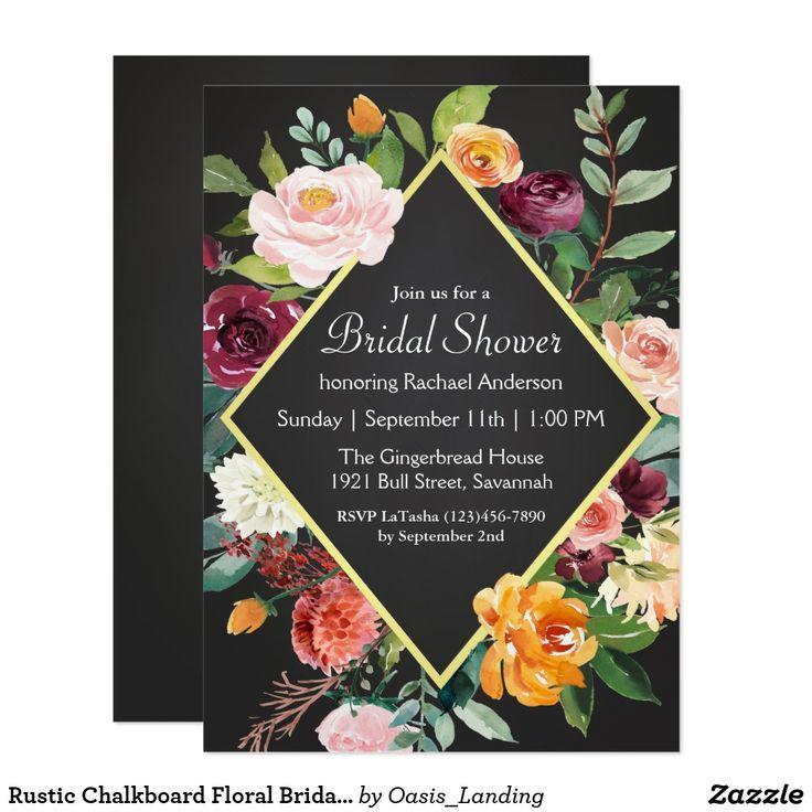 simple diy bridal shower invitations%0A Rustic Chalkboard Floral Bridal Shower Card