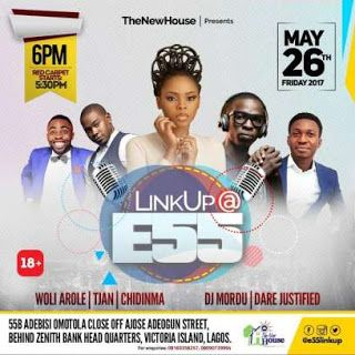 LinkUp @E55 with Chidinma 26 MAY   The New House presents Link Up @E55 an evening of entertainment for young professionals with live performances from superstar singer Ms Kedike Chidinma @chidinmaekile RnB sensation T Jan  @iamtjan DJ Mordu @djmordu @DareJustified and the very hilarious and entertaining comedian Woli Arole @woliarole & @asiricomedy amongst others.  Come join in the fun worship laugh mingle and connect with other young professionals. Admission is  The venue is 55B Adebisi…