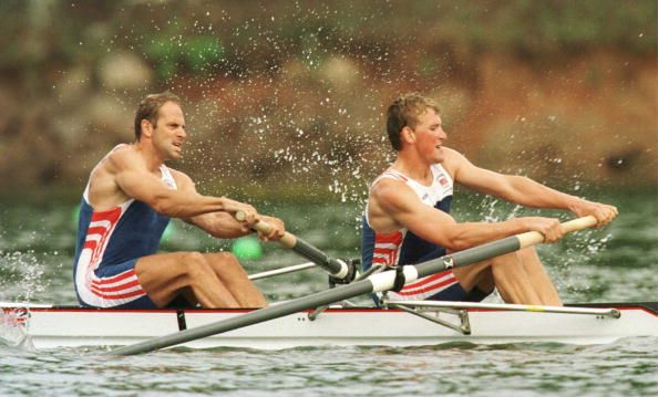 Team GB's Steven Redgrave and Matthew Pinsent row to victory in the semifinal round of the men''s coxless pairs rowing at the 1996 Centennial Olympic Games in Atlanta.