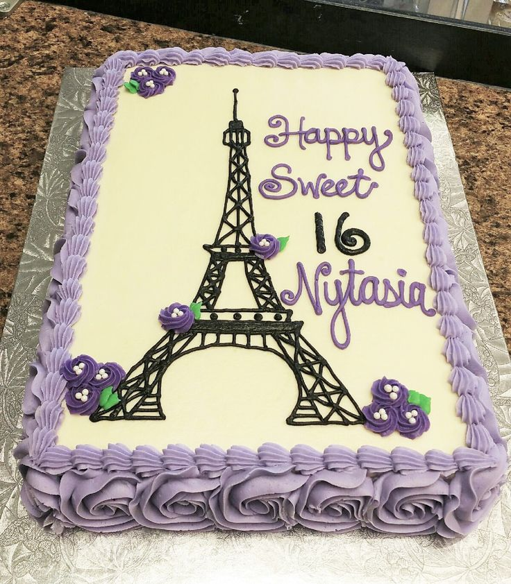 Paris-themed Sweet 16 Birthday Cake.