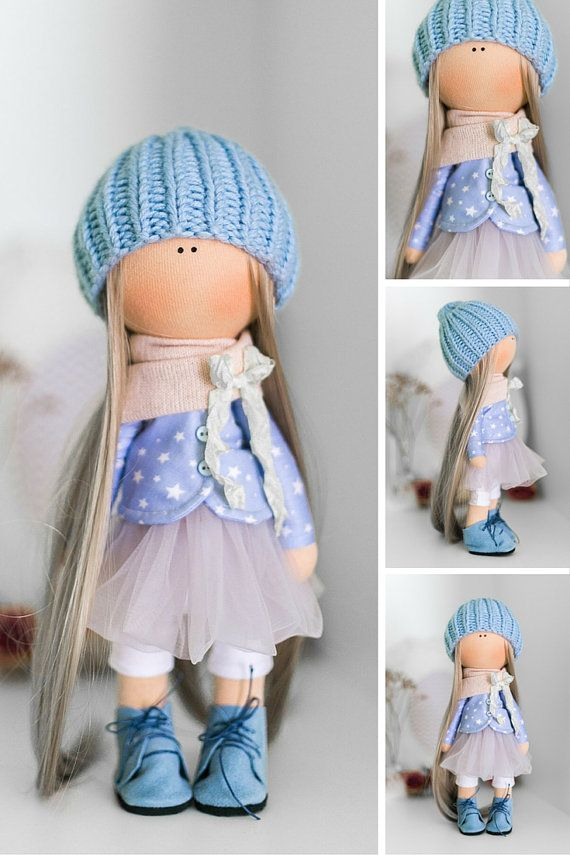 Tilda doll AT STOCK handmade doll blonde blue by AnnKirillartPlace
