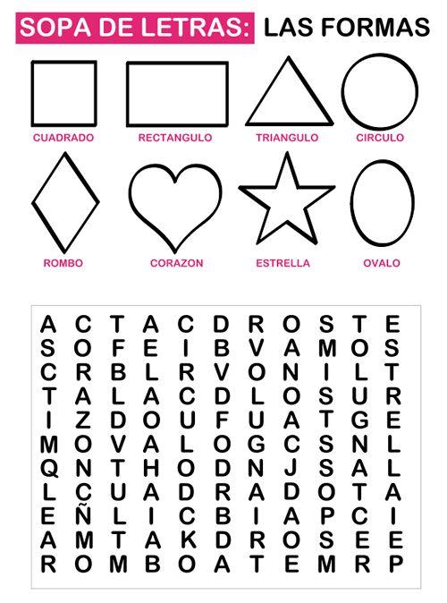 Las sopas de letras son geniales para que los niños aprendan palabras y formas jugando. La idea es que cada vez que encuentran una de las palabras de la sopa de letras pueden pintar la forma correspondiente. La sopa de letras es un juego que les encanta cuando están empezando a leer y además les ayuda el hecho de reforzar la palabra con la imagen del objeto correspondiente. Esta sopa de letras es para aprender algunas formas básicas como el rombo, el círculo, el cuadrado, la estrella, el…