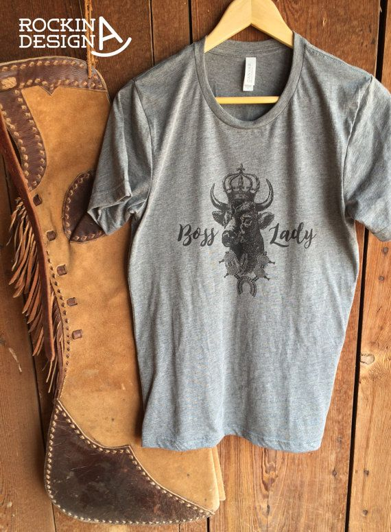 Boss lady cow crown graphic tee unisex gray tri blend for Ranch dress n rodeo shirts