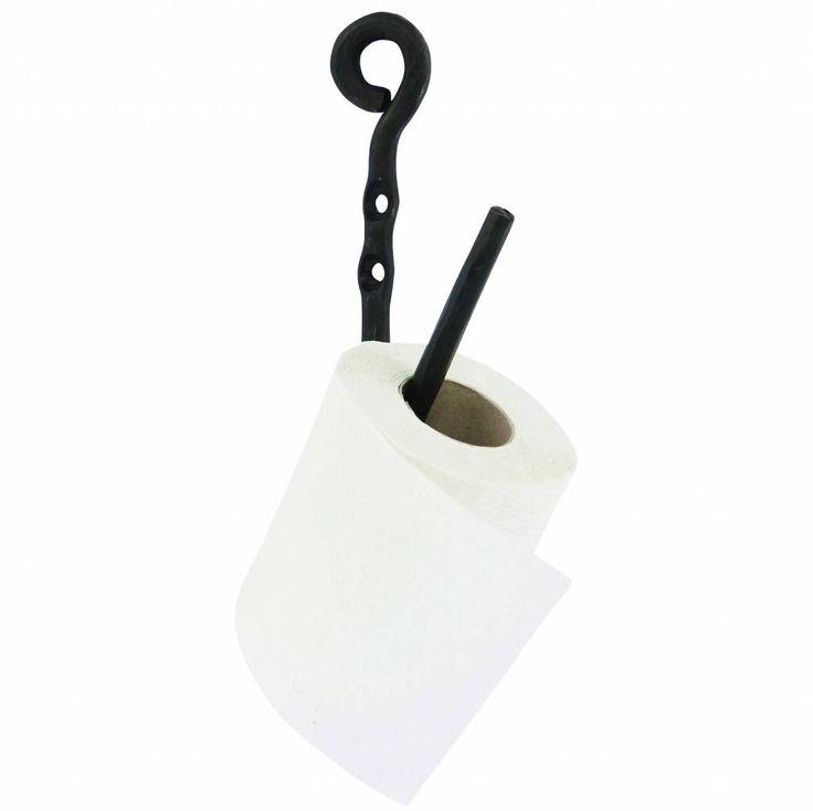 Housedoctor WC rol houder Cast zwart grijs metaal h22cm - wonenmetlef.nl