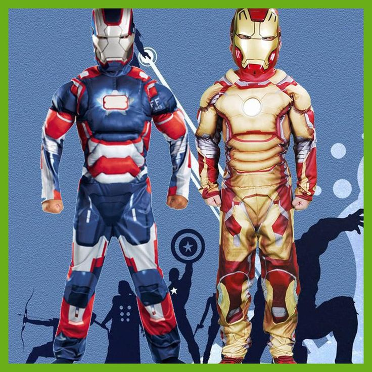 Christmas costumes for boy Superhero Captain America&Iron Man Halloween Costume For Kids Fantasy Fancy Dress Boy Carnival Party