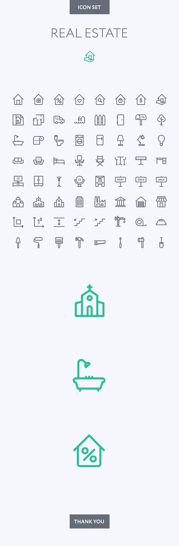 Real Estate icon set by Dmitriy Miroliubov, via Behance