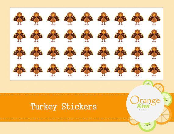 Turkey Stickers  Thanksgiving Stickers  Turkey by OrangeKiwiDesign