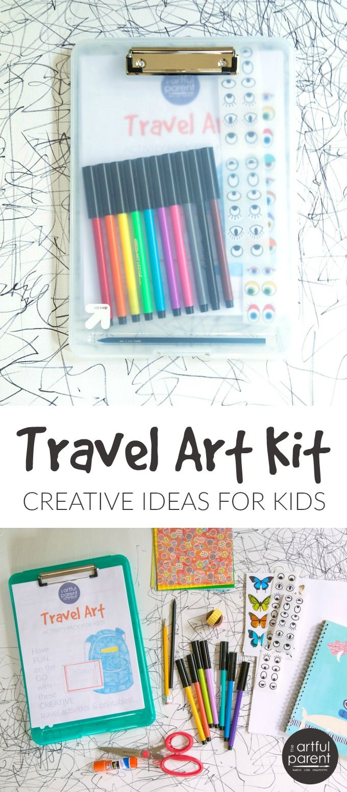 How to make a travel art kit for kids by combining creative activities and printables with basic art materials. Great for a plane or road trip!