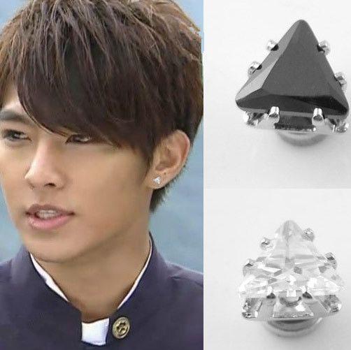 6 MM magnet pria pejantan anting Hip hop Hitam mode CZ magnet segitiga anting klip tanpa tindik telinga wrap