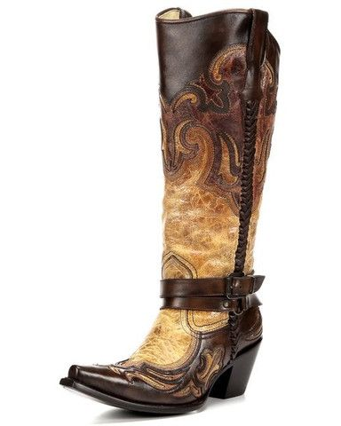Corral Women's Cognac Harness Studded Boot - Tailored West Fashion Boutique #CorralBoots #TailoredWest #Boots