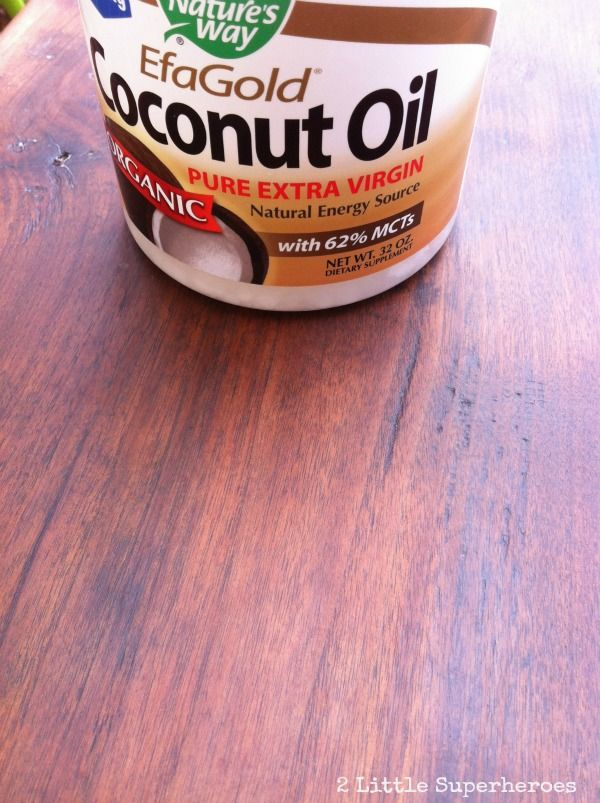 How to refinish wood with coconut oil. It re-hydrates the wood, brings out the natural color, and takes away some of that old musty smell.