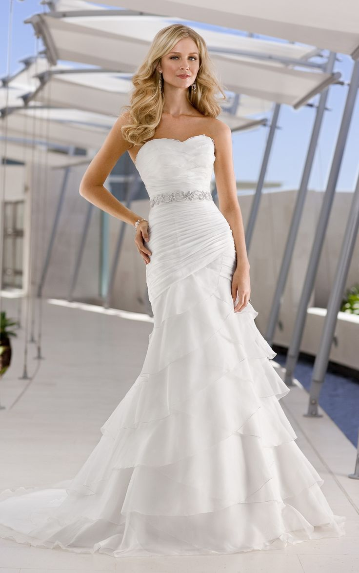 Wonderful Organza Satin Mermaid Strapless Sweetheart Ruched Beaded Tiered Beach Wedding Dress