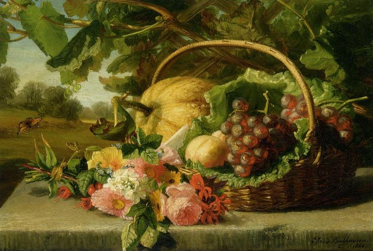 A still life with flowers grapes and a melon