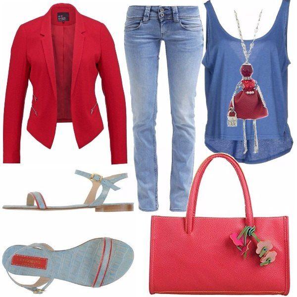 Un look spiritoso e giovanile, ma soprattutto colorato e comodo. Una t-shirt con bretelline indossata sotto ad una giacca rossa con collo a bavero. Dei sandali che riprendono le tonalità di sopra con qualche centimetro di tacco per renderli comodi e da tutti i giorni. La collana, personalmente, la trovo adorabile.