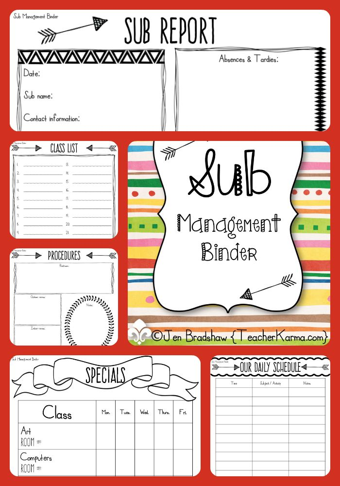 Sub Management Binder!  Get organized now!  Save time and energy with this substitute organization kit!  Virtually everything you can imagine is included with this sub kit.  TeacherKarma.com #sub #management