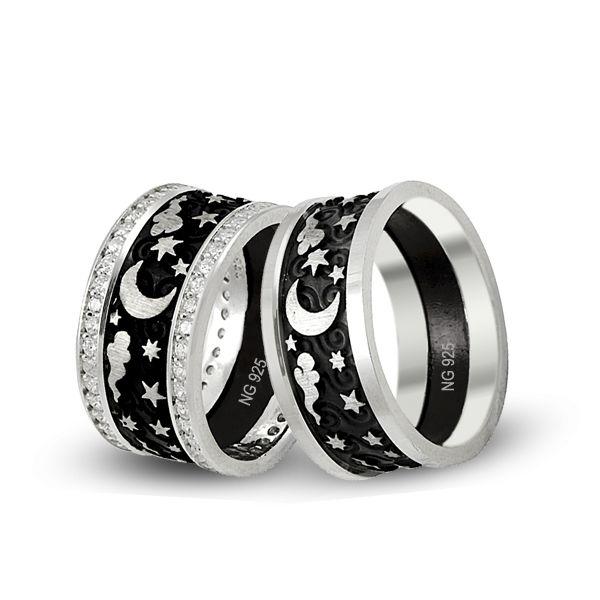 Ay yıldız modelli,925 ayar gümüş alyans