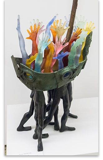 "Graeme Hitchcock - ""Boat People"", patinated bronze and acid-etched cast glass."