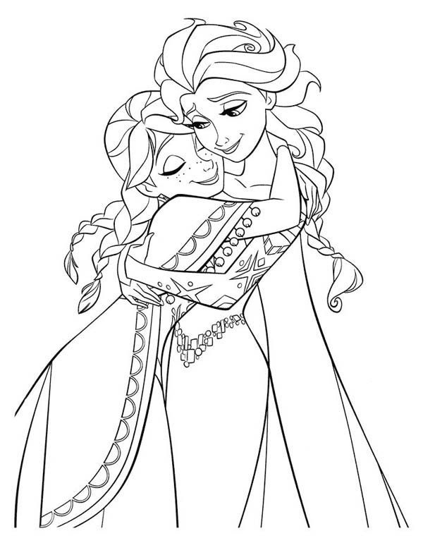 Frozen Anna Hugging Elsa The Snow Queen Coloring Page Free Printable