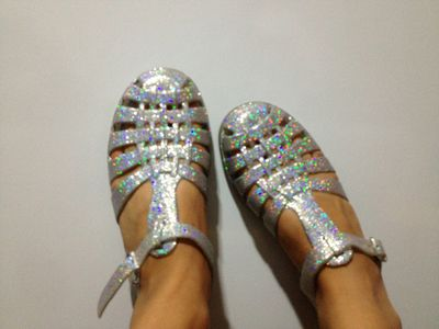 not clear but they're holographic pvc AND jelly shoes so it counts
