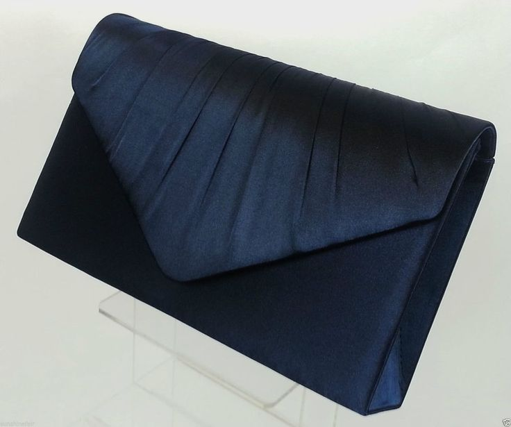 Las Navy Blue Pleated Satin Envelope Evening Clutch Bag Handbag Bridal Prom