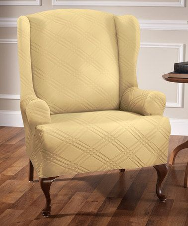 Look at this #zulilyfind! Butter Double Diamond Wingback Chair Cover #zulilyfinds