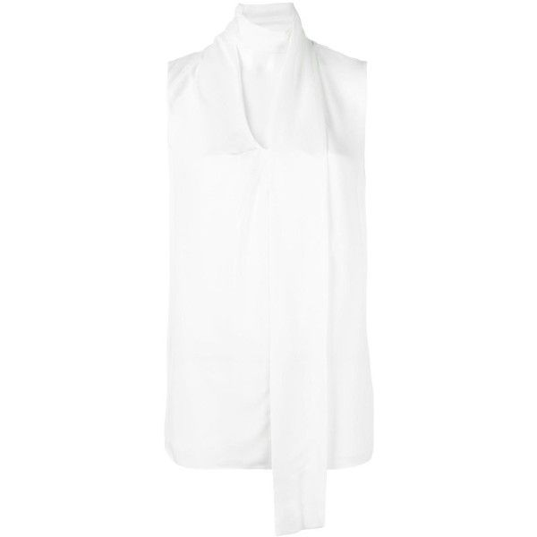 Michael Michael Kors tied neck sleeveless blouse ($178) ❤ liked on Polyvore featuring tops, blouses, white, white sleeveless blouse, michael michael kors, necktie blouse, white necktie blouse and white blouse
