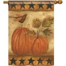 """Pumpkin Stars Flag - Banner by BreezeArt. $15.99. Dimensions: 28"""" x 40"""". Pole hem and attachment tab. A charming, rustic design by BreezeArt decorates this banner flag with pumpkins and stars. A delightful fall decoration to add to your home. You can even get a matching mailbox cover to go with it! Measures: 28"""" x 40"""""""