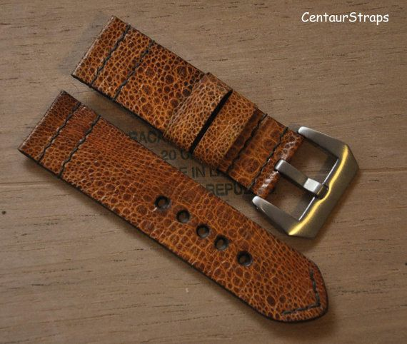 24mm exotic toad leather watch band  Handmade by CentaurStraps
