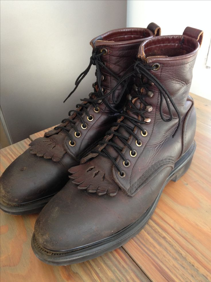Pre-1995 steel toe Red Wing Boots with Kelty's. Factory resoled, Rattle  Snake