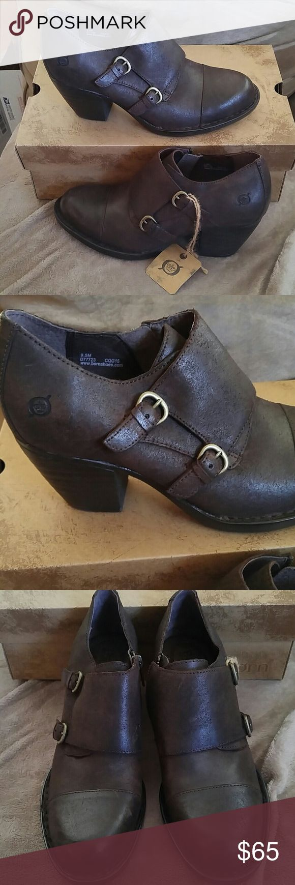 Born boots nwt Model castagno oiled suede zip side stacked heel Dark Brown 3 in heel Born Shoes Ankle Boots & Booties