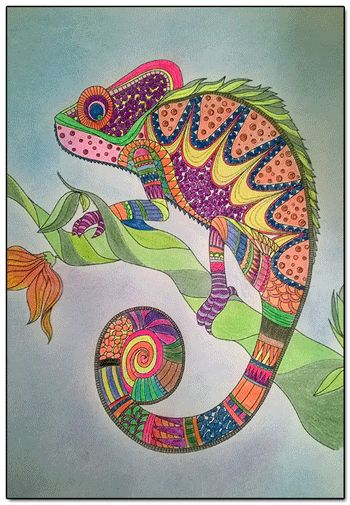 finished coloring pages Finished Coloring Page   Cameleon | Adult Coloring***relaxation  finished coloring pages