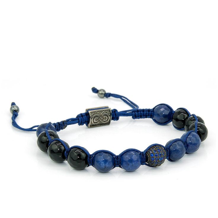 ROYAL BLUE | Mens Shamballa Bracelet, Handcrafted, 925 Sterling Silver, Cubic Zirconia Bead, Mens Jewelry, Gift for Men, Anniversary Gift