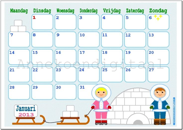 Print je eigen kalender!! Maand Kalender Januari www.Annekoendigitaal ...