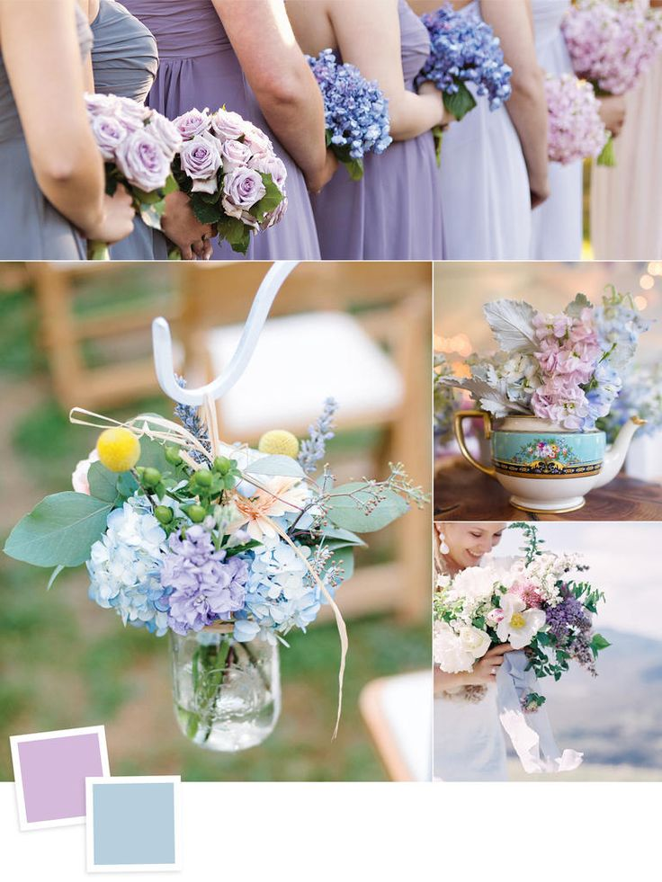 Lilac and dusty blue wedding colors   Lavender   purple  light blue  palate  TheKnot com